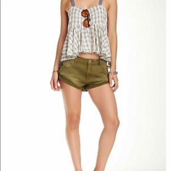 Free People Pants - Free People Irreplaceable Army Green Shorts Sz 30